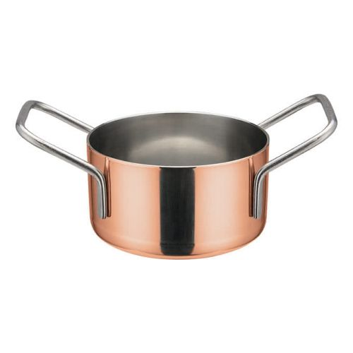 Winco DCWE-202C, 3-1/8-Inch Dia Stainless Steel Mini Casserole Pot, 2 Handles, Copper Plated