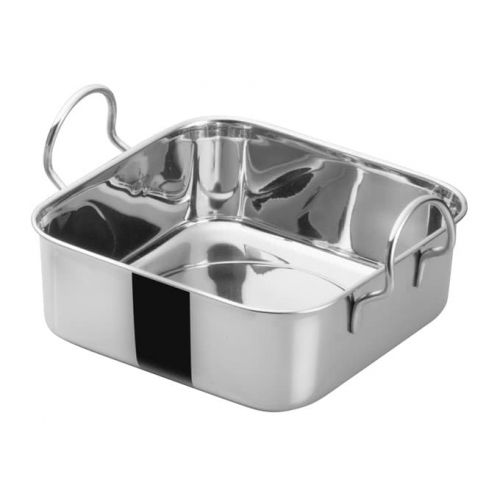 Winco DDSB-101S, 4-1/2-Inch Stainless Steel Square Mini Roasting Pan, 2 Handles