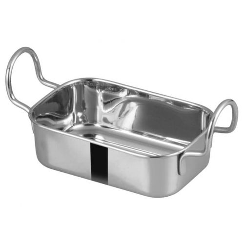 Winco DDSB-104S, 5-3/4x3-3/4-Inch Stainless Steel Rectangular Mini Roasting Pan, 2 Handles