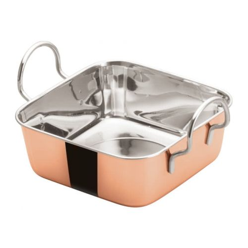 Winco DDSB-202C, 5-3/16-Inch Stainless Steel Square Mini Roasting Pan, 2 Handles, Copper Plated