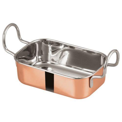 Winco DDSB-203C, 5x3-3/8-Inch Stainless Steel Rectangular Mini Roasting Pan, 2 Handles, Copper Plated