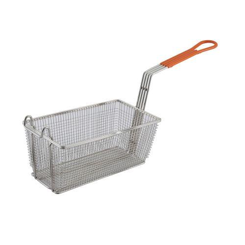 Winco FB-10, 12x6.5x5.4-Inch Fry Basket with Orange Handle