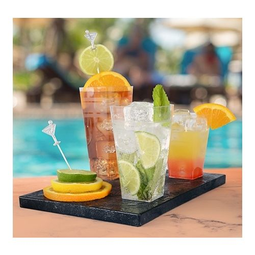 Fineline Settings 1110 10 Oz. Wavetrends Clear Square Plastic Tumblers, 168/CS