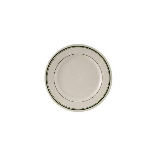 Yanco Gb 21 12 Inch Porcelain Green Band Plate Dz Mcdonald Paper Restaurant Supplies