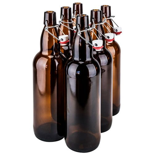 SafePro GB32BR, 1L / 33.8-ounce Brown Glass Bottle with Stopper, EA