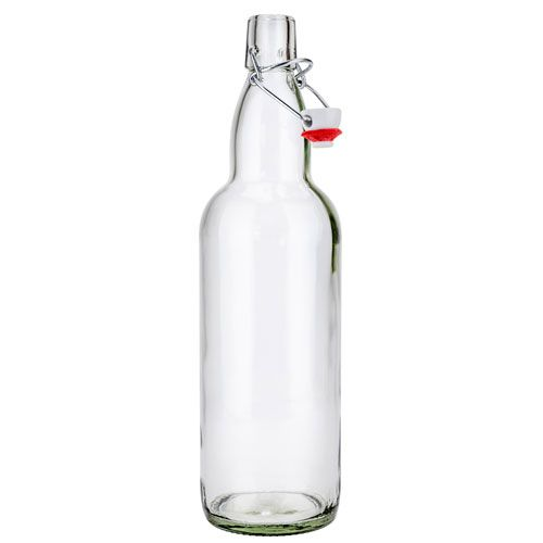 SafePro GB32CL, 1L / 32 Ounce Clear Glass Bottle with Stopper, EA