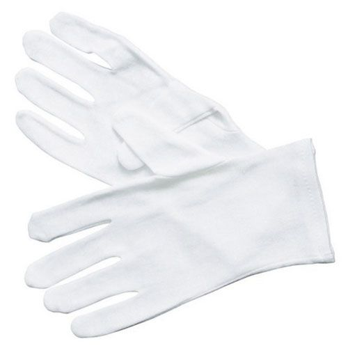 Winco GLC-M, White Cotton Disposable Service Gloves, Size M, 6-Pair Pack