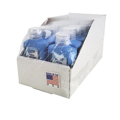 Germium GRB2SBL 2 Oz Silicone Blue Holder Bottle Gel Hand Sanitizer, 70% Isopropyl Alcohol, 14/Tray