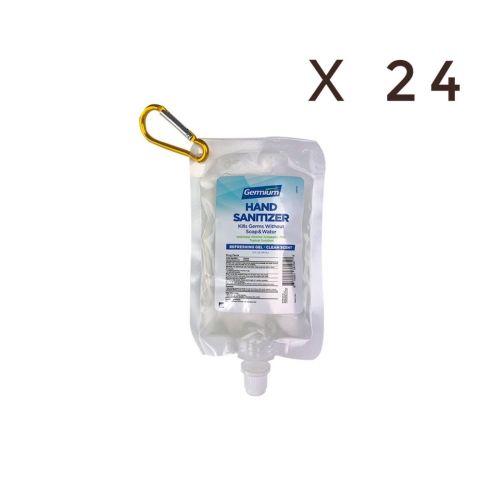 Germium GRP58C 2 Oz Gel Hand Sanitizer Squeeze Pouch w/Carabiner, 70% Isopropyl Alcohol, 24/CS