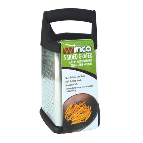 Winco GT-401, 5-Sided Grater with Black Soft Grip Handle and Anti Slip Feet