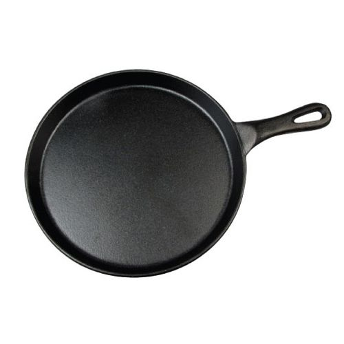 Winco IGL-10, 10-Inch Black Coated Round Cast Iron Grill Pan