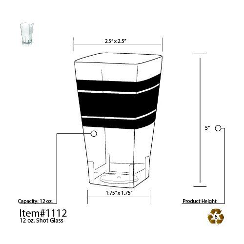Fineline Settings 1112 12 Oz. Wavetrends Clear Square Plastic Tumblers, 168/CS