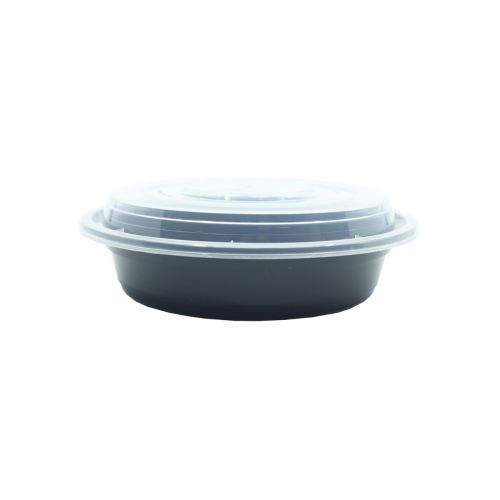 SafePro MC718, 16 Oz. Round Microwavable Containers Combo, Black Bottom, 150/CS