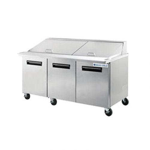 Maxx Cold MCR-72M, 75.5x33x44-Inch Megatop Sandwich/Salad Prep Table Refrigerator, 20 Cu. Ft, 702 Watt, Self-Contained, ETL, ETL Sanitation
