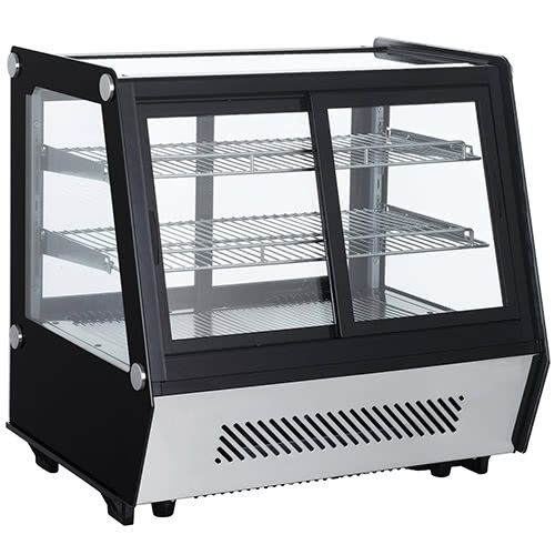 Marchia Mdcc125 28 Inch Refrigerated Countertop Display Case Front Rear Mcdonald Paper Restaurant Supplies