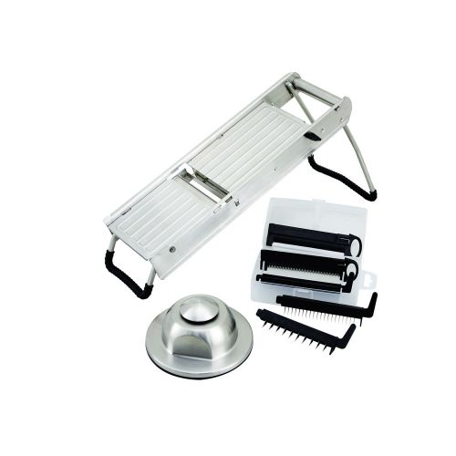 Winco MDL-15, Mandoline Slicer Set with Stainless Steel Hand Guard
