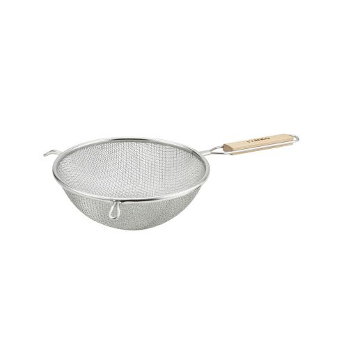 Winco MS3A-8D, 8-Inch Double Fine Mesh Strainer with Flat Wooden Handle