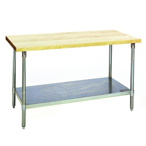 Eagle Group MT2496B, 24x96-Inch Hardwood Baker's Table with Flat Top, Galvanized Legs and Adjustable Undershelf, NSF, KCL