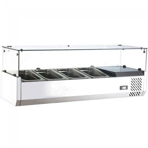 Marchia MTR4 48-inch Refrigerated Countertop Salad Bar, Topping Rail