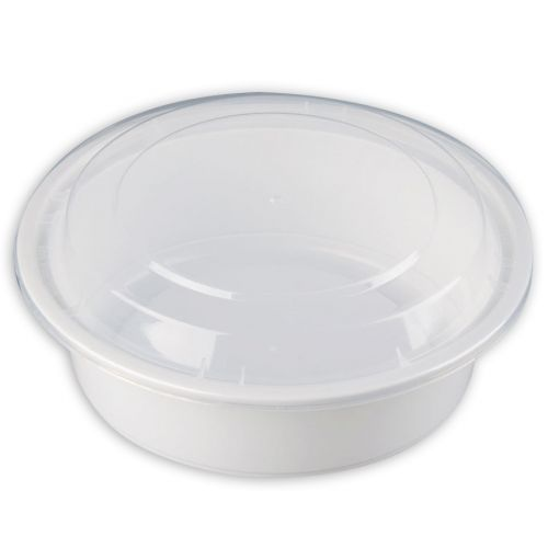 SafePro MC729-W 32 Oz. Round Microwaveable Containers Combo, White Bottom, 150/CS