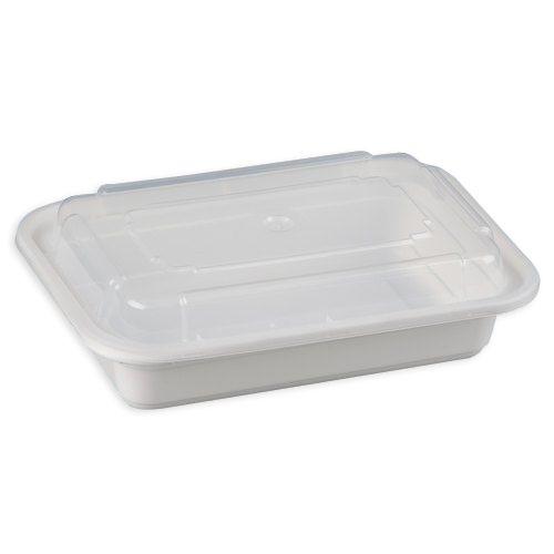 SafePro MC8168-W 16 Oz. Rectangular Microwaveable Containers Combo, White Bottom, 150/CS