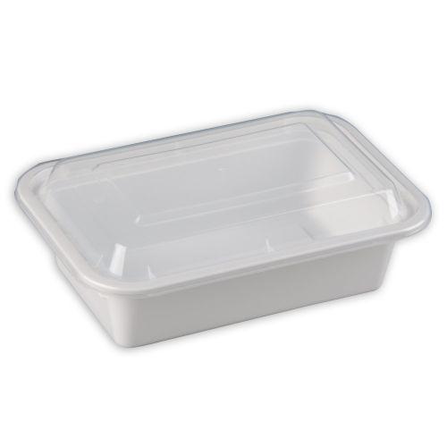 SafePro MC838-W 24 Oz. Rectangular Microwaveable Containers Combo, White Bottom, 150/CS