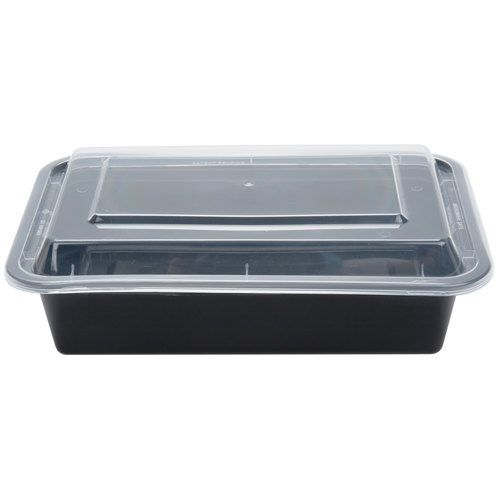 SafePro MC888 38 Oz. Rectangular Microwaveable Containers Combo, Black Bottom, 150/CS