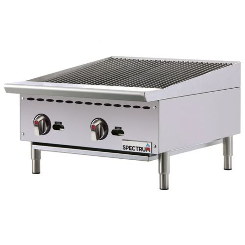 Winco NGCB-24R 24-Inch Spectrum Gas Charbroiler with 2 Heat Zones, EA
