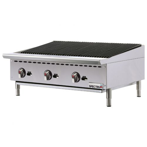 Winco NGCB-36R, 36-Inch Spectrum Gas Charbroiler with 3 Cooking Zones, NSF-4, ETL, cETLus