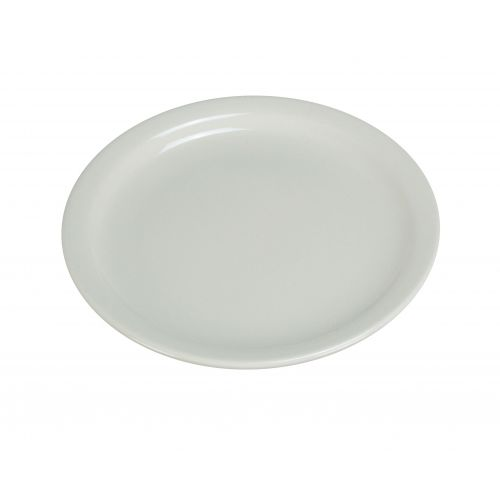 Yanco NR-16 10.5-Inch Normandy Melamine Round American White Plate With Narrow Rim, DZ