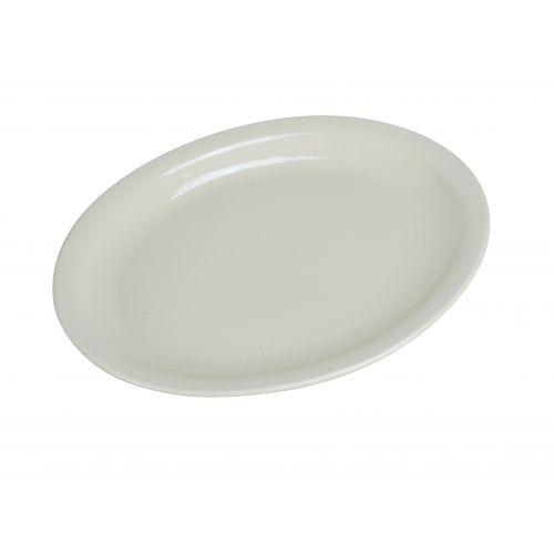 Yanco NR-41 8.625x6.25-Inch Normandy Melamine Round American White Platter With Narrow Rim, 24/CS