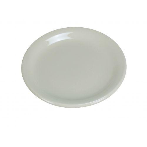 Yanco NR-6 6.5-Inch Normandy Melamine Round American White Plate With Narrow Rim, 36/CS