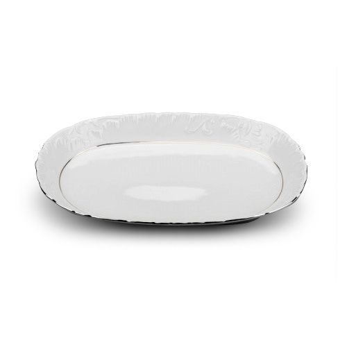Cmielow ODPL29X, 12-Inch Oval Platinum Band Porcelain Dish, EA