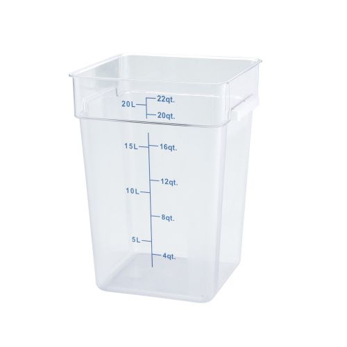 Winco PCSC-22C, 22-Quart Clear Square Polycarbonate Food Storage Container, NSF