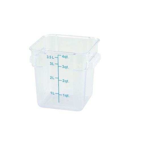 Winco PCSC-4C, 4-Quart Clear Square Polycarbonate Food Storage Container, NSF