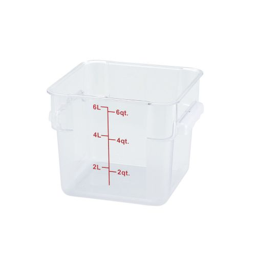 Winco PCSC-6C, 6-Quart Clear Square Polycarbonate Food Storage Container, NSF