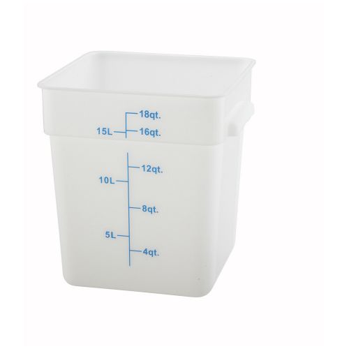 Winco PESC-18, 18-Quart White Square Polyethylene Food Storage Container, NSF