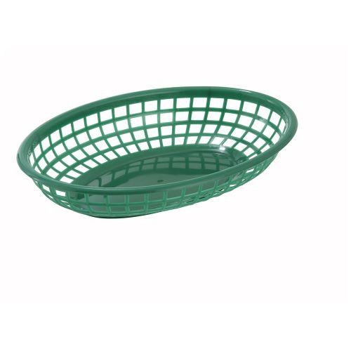 Winco PFB-10G, 9.5-Inch Green Oval Plastic Fast Food Basket, 1 Dozen