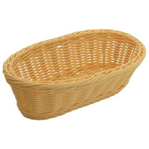 Winco PWBN-94B, 9-Inch Polypropylene Woven Baskets, Oblong, Natural, 6-Piece Pack