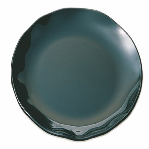 Thunder Group RF1020BW 20 Inch Western Black Pearl Round Melamine Two Tone Black Dinner Plate, EA