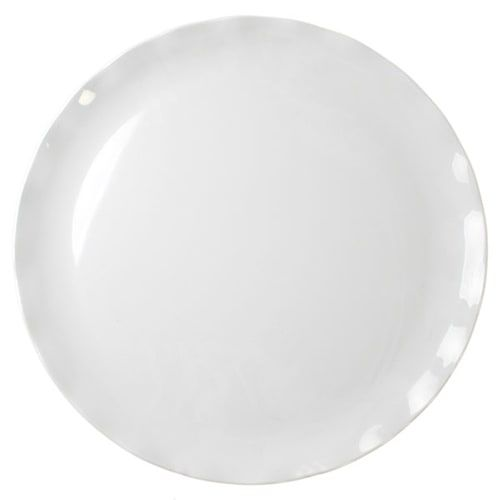 Thunder Group RF1020W 20 Inch Western Black Pearl Round Melamine White Dinner Plate, EA