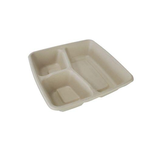 SafePro Eco SBCS1000-3 8x8x1.5-Inch 42 Oz 3-Compartment Bio Square Fiber Tray, 300/CS