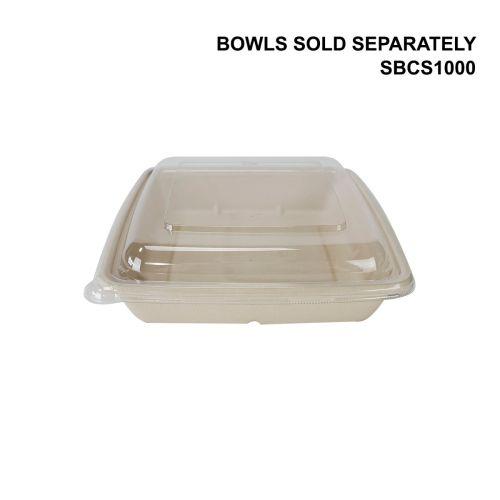 SafePro Eco SBCR1000F PET Clear Square Lid for Fiber Trays (SBCS1000, SBCS1000-3), 300/CS
