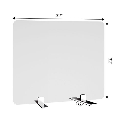 SDPL2 32x32-Inch Free-Standing Acrylic Protective Guard for Countertops w/ Large Flat Legs 14.5-Inches