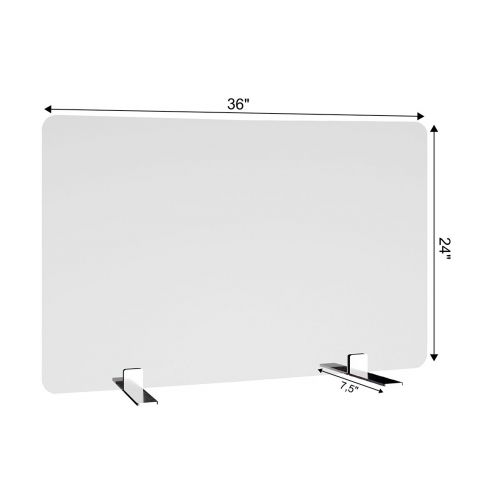 SDPS3 36x24-Inch Free-Standing Acrylic Protective Guard for Countertops w/ Small Flat Legs 7.5-Inches