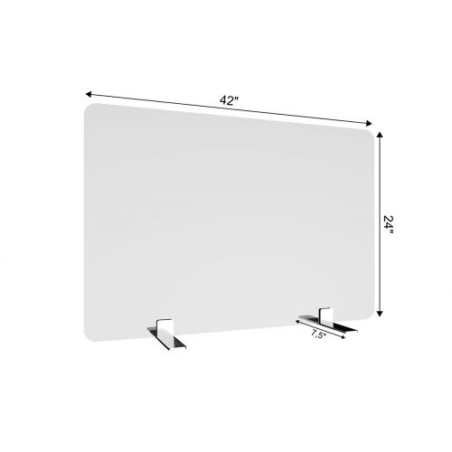 SDPS4 42x24-Inch Free-Standing Acrylic Protective Guard for Countertops w/ Small Flat Legs 7.5-Inches