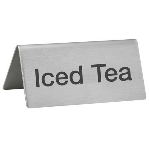 Winco SGN-105, -Iced Tea- Stainless Steel Tent Sign