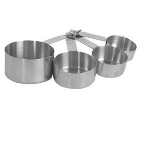 Thunder Group SLMC2414, Stainless Steel Measuring Cup with Handle, Capacity Marking Cups-Ounces, Clear, 4-Piece Set