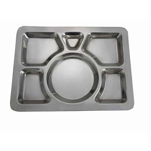 Winco SMT-1, 15.8x11.7x0.8-Inch Stainless Steel Mess Tray wit 6 Compartments, Style A