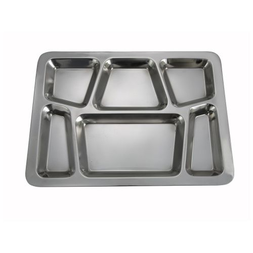 Winco SMT-2, 15.8x11.7x08-Inch Stainless Steel Mess Tray with 6 Compartments, Style B